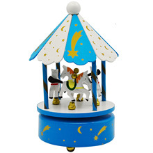 Bevigac Wooden Carousel Horses Rotating Music Musical Box with Castle in the Sky Melody Home Decoration