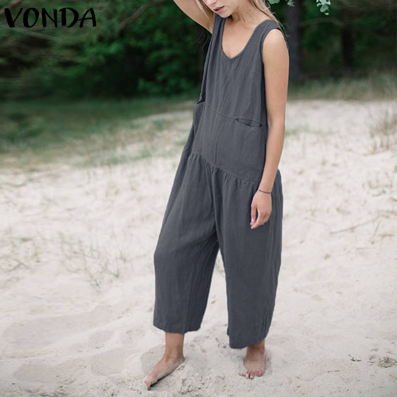 VONDA Cotton Rompers Womens   Jumpsuit   Summer 2019 Casual Loose Playsuits Long Wide Leg Pants Vintage Overalls Plus Size