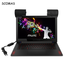 Scomas portátil mini clip on notebook computador portátil desktop tablet usb alimentado estéreo multimídia alto falante soundbar aux 3.0 clipon