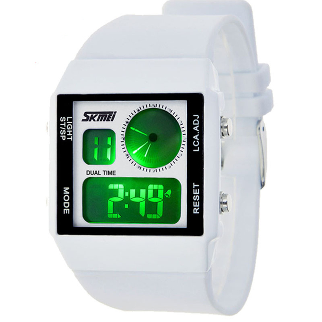 9ab2d0710b32 2016 Nuevo Dual Time Digital deportivo relojes hombres mujeres goma LED  relojes casual reloj Relogio masculino