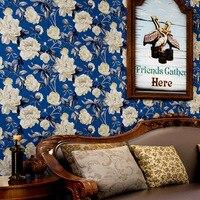 beibehang American rural pastoral wallpaper wallpaper green paper wallpaper Mediterranean blue living room bedroom sofa backdrop