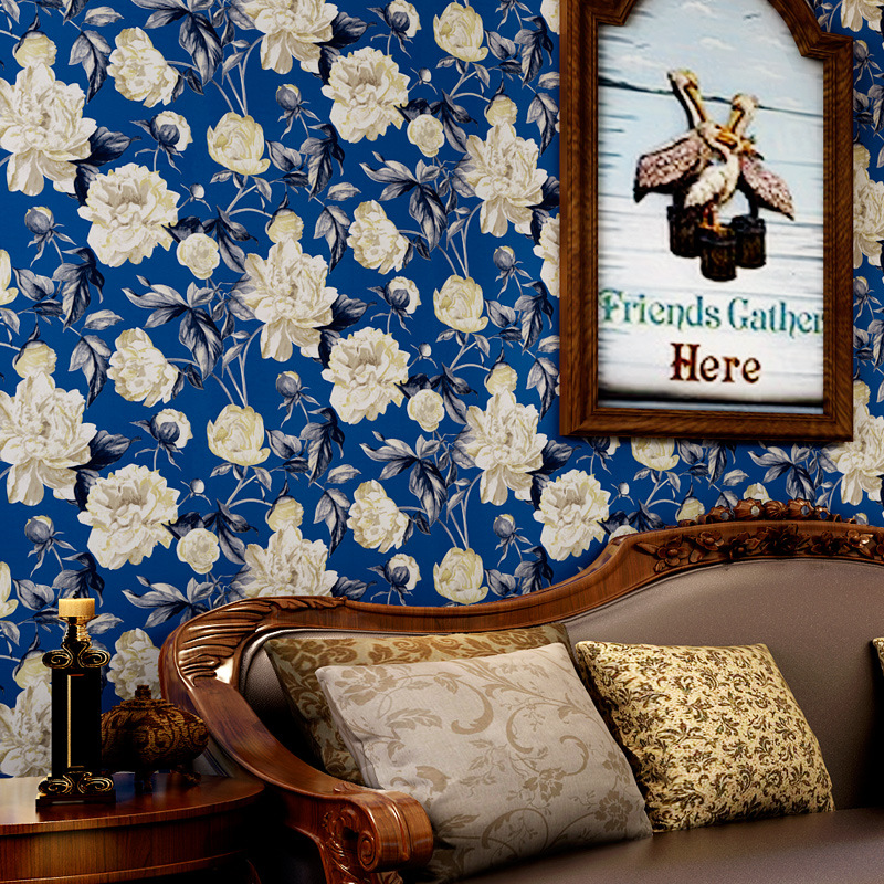 beibehang American rural pastoral wallpaper wallpaper green paper wallpaper Mediterranean blue living room bedroom sofa backdrop beibehang american pastoral wallpaper