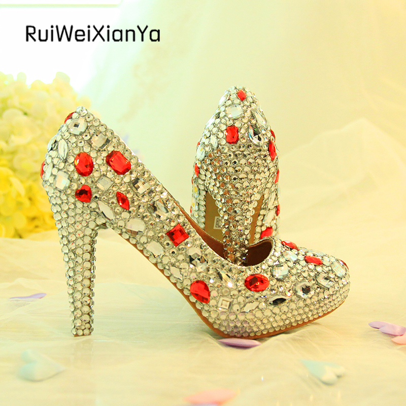 2017 New Arrive Spring Single Ladies Party Shoes Woman Pumps high Heel Crystal Silver Wedding Shoes for Bridesmaid Plus Size Hot 2017 new fashion spring ladies pointed toe shoes woman flats crystal diamond silver wedding shoes for bridal plus size hot sale