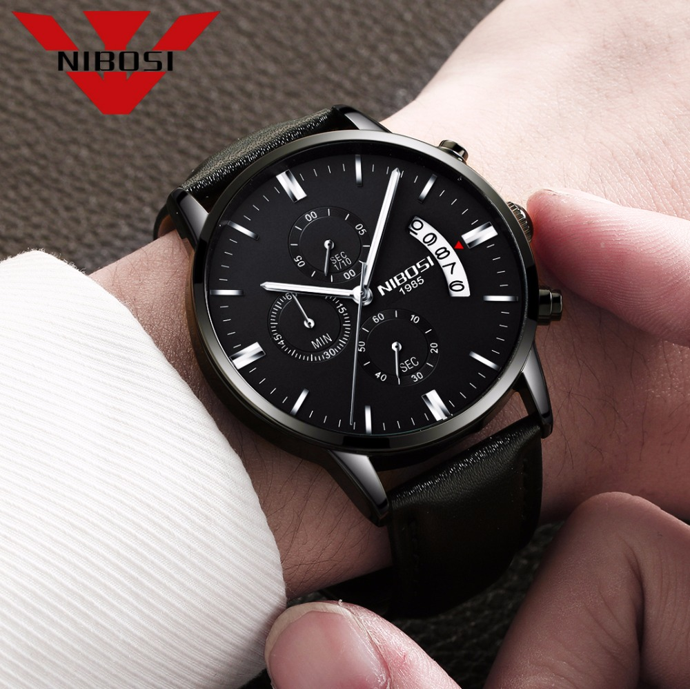 Relojes de hombre NIBOSI Relogio Masculino, relojes de pulsera de cuarzo de estilo informal de marca famosa de lujo para hombre, relojes de pulsera Saat 37