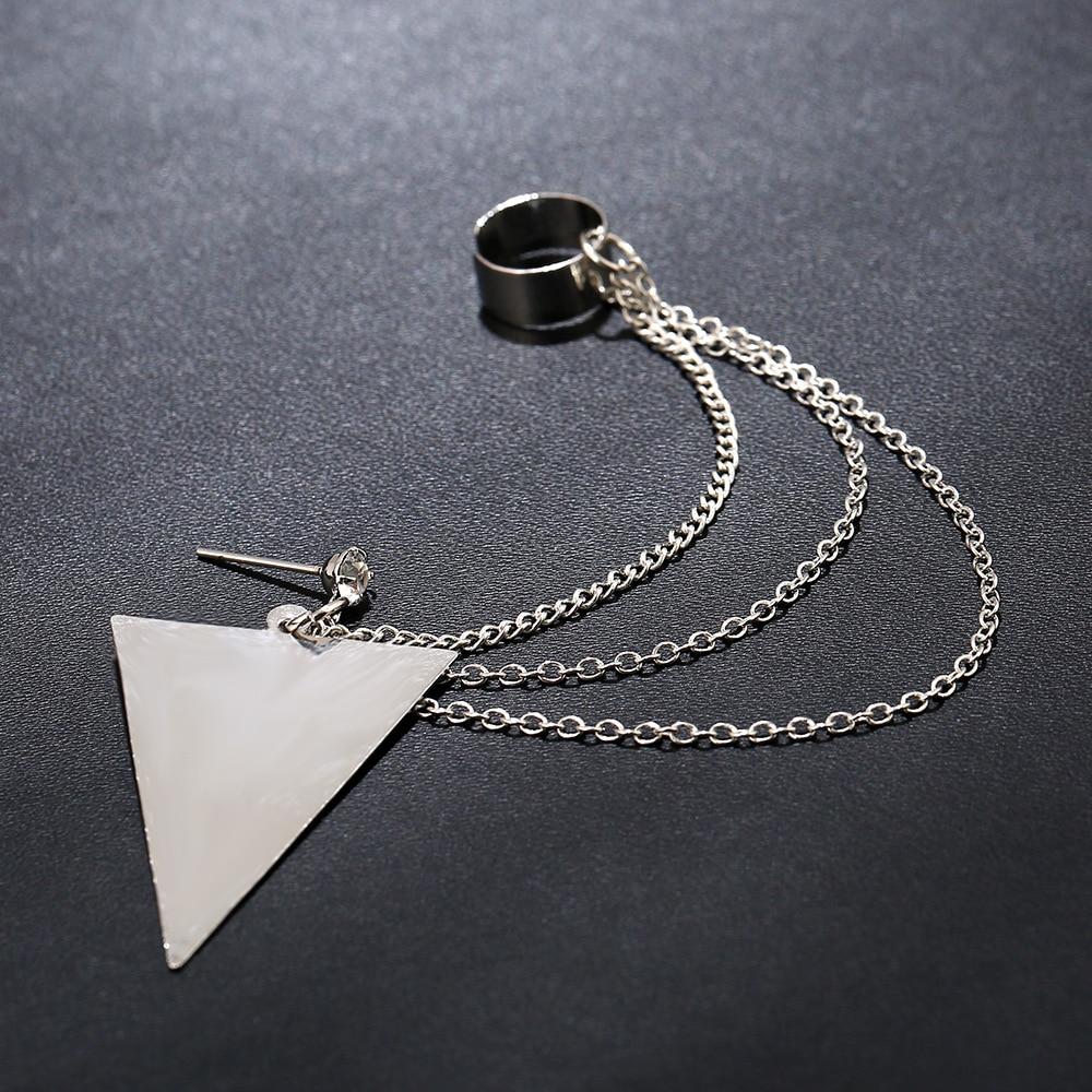 Two Piece Triangular Stud /& Chain Ear Cuff In Silver Plating