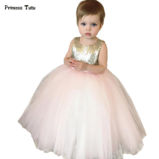 Gold Sequins Tulle Backless Pink Flower Girl Dresses Wedding Pageant Ball  Gowns Bow Baby Girl Birthday Party Tutu Dress Custom 440f298c0388
