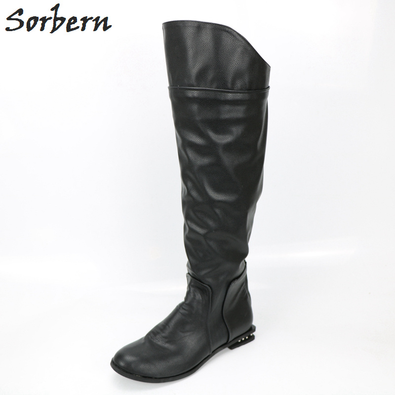 Sorbern Custom Low Heels Crystal Round Toe Knee High Women Boots Winter Women Shoes Square Heeled Ladies Boots Long Large SizeSorbern Custom Low Heels Crystal Round Toe Knee High Women Boots Winter Women Shoes Square Heeled Ladies Boots Long Large Size