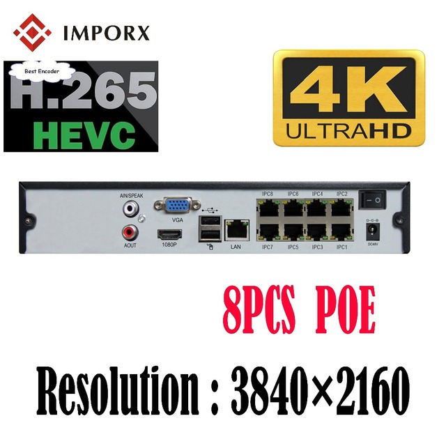 2018 new 4k nvr support poe high definition 4ch 8ch 3840 2160p