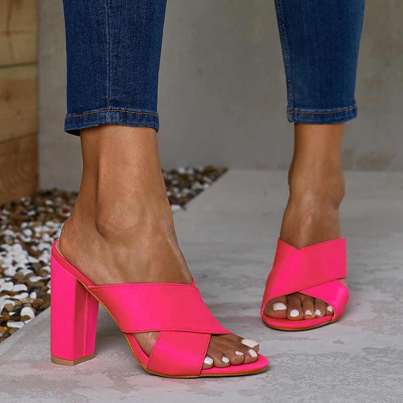 2019 Artı Boyutu 35-42 Yaz Kadın 11 cm Yüksek Topuklu Slaytlar Kadın Katır Turuncu Bayan Fetiş Neon Yeşil sandalet Blok Topuklu Ayakkabı