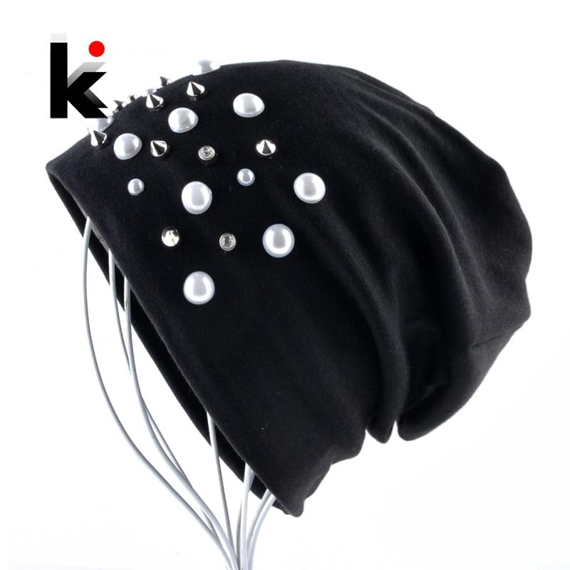 Women's   Beanie   Hat Fashion Pearls Rivet Bonnet Cap Ladies Spring Autumn Solid Rhinestone   Skullies     Beanie   Women Hip Hop Gorras