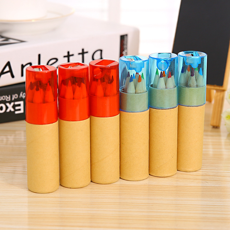 6 Pcs/box DIY Wooden Colored Pencil With Pencil Sharpener Cute Crayon For Kids Student Drawing Graffiti Gift School Stationery