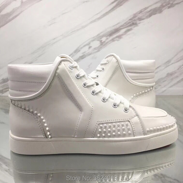 8f5771ce33f Sneakers Small Rivets Lace-up Red bottom Shoes white rubber outsole ...