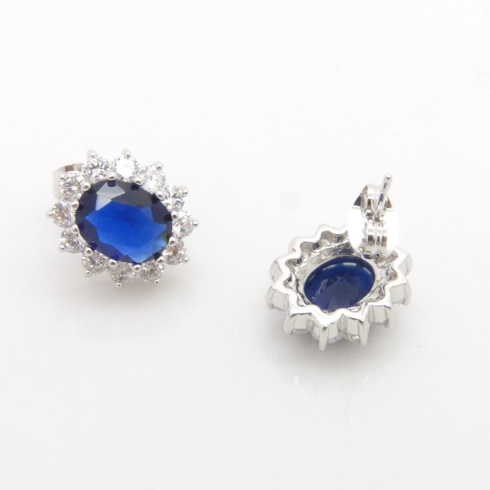97abcb36fa3c Azul Marino Pendientes broche de oro blanco lleno de mujeres Pendientes  regalo de la joyería