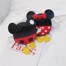Mickey Minnie Handbag Round Pu Leather Bag Girl Boy Shoulder
