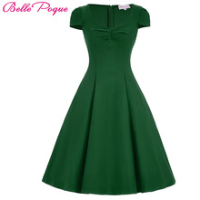 Belle Poque Vintage 50s Rockabilly Dresses Womens Summer Big Size Solid Black Green Pin Up Vestidos