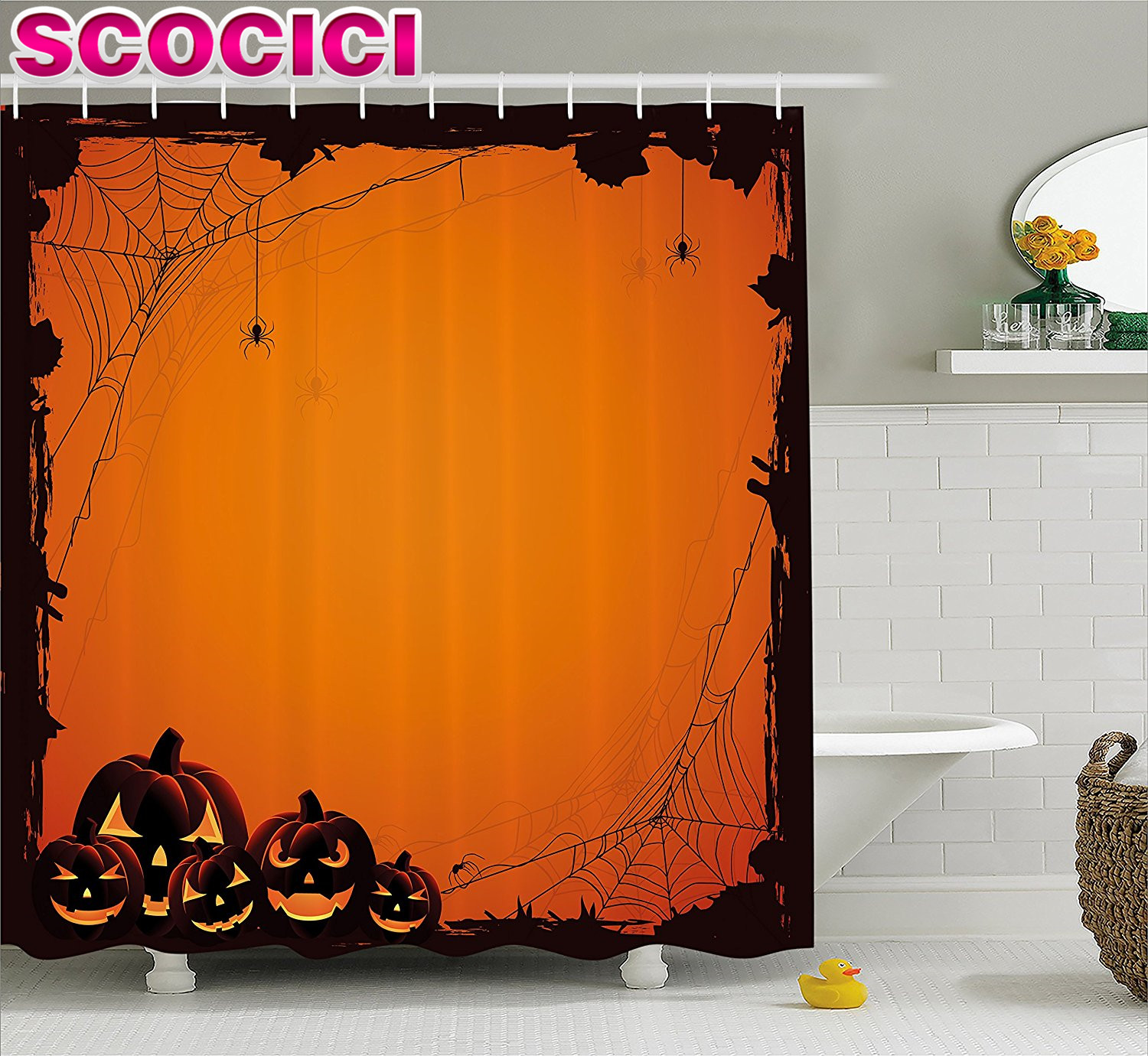 Halloween Decorations Shower Curtain Set Grunge Design Spider Web Pumpkins Horror Time Of The Year Trick
