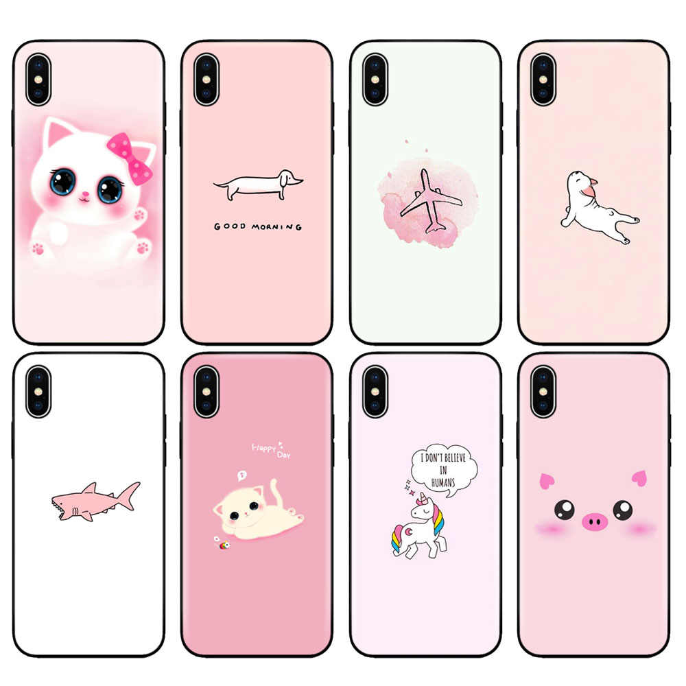 Black tpu case for iphone 5 5s se 6 6s 7 8 plus x 10 case silicone cover for iphone XR XS MAX casec ute pink cat dog fish