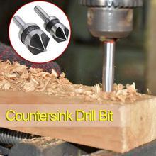 цена на 2pcs 5 Flute Countersink Drill Bit HSS 82 Degree Point Angle Chamfer Chamfering Cutter 1/4 Round Shank For Power Tool