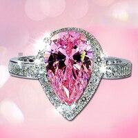 Accessori Gioiello femminile Zircone Austria Cristallo di Modo Dei Monili Rosa Anello di Pietra Anelli di Modo