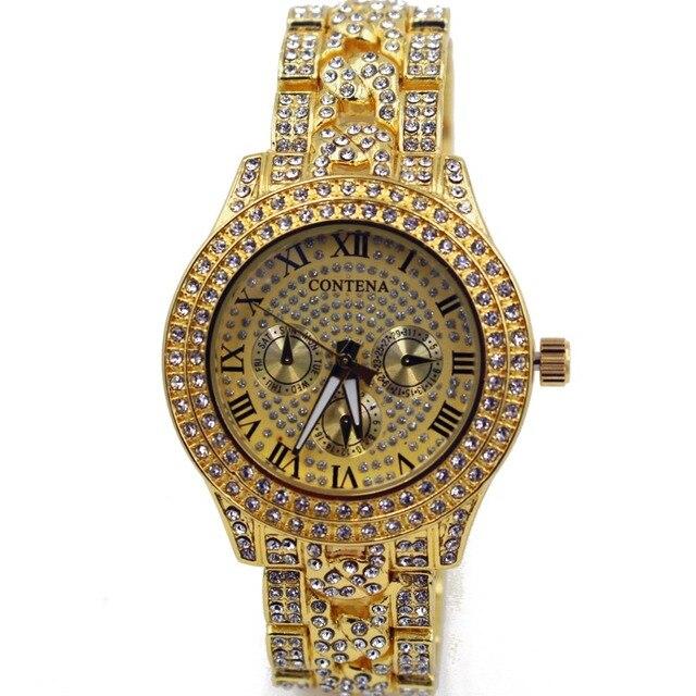 c1c242b8e3d Contena ouro diamante relógio de quartzo das senhoras das mulheres famosa  marca de luxo relógio de