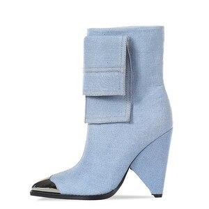 Image 2 - MORAZORA 2020 yeni moda yarım çizmeler kadınlar Metal sivri burun denim yüksek topuklu ayakkabılar vintage sonbahar kış Chelsea çizmeler kadın
