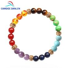 CAMDOE Bracelet en pierres chakras de danse, 7 perles naturelles, guérison, Reiki, prière de bouddha, breloques de Yoga pour hommes et femmes