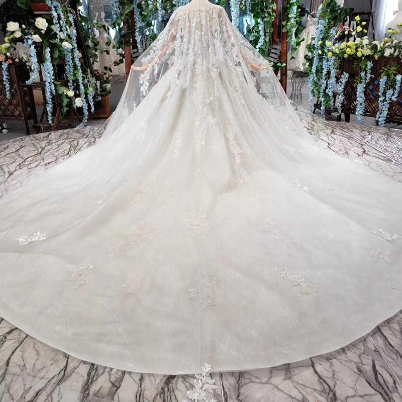 HTL435 Роскошная свадебная одежда с накидкой с большим круглым вырезом ручная вышивка свадебное платье Свадебные платья 2019 Новая мода robe de mariee