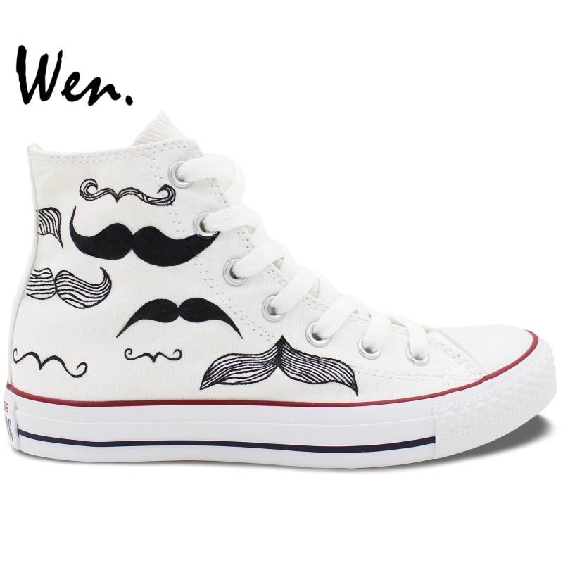 Wen Original Hand Painted Shoes Design Custom Beard Men Womens White Men Womens High Top Canvas Sneakers Birthday GiftsWen Original Hand Painted Shoes Design Custom Beard Men Womens White Men Womens High Top Canvas Sneakers Birthday Gifts
