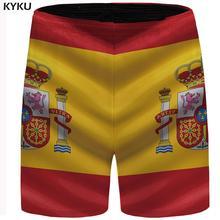 KYKU Brand Spain Flag Shorts Men Colorful Casual Hip Hop Beach Bodybuilding Mens Short Pants Summer High Quality 2018 New