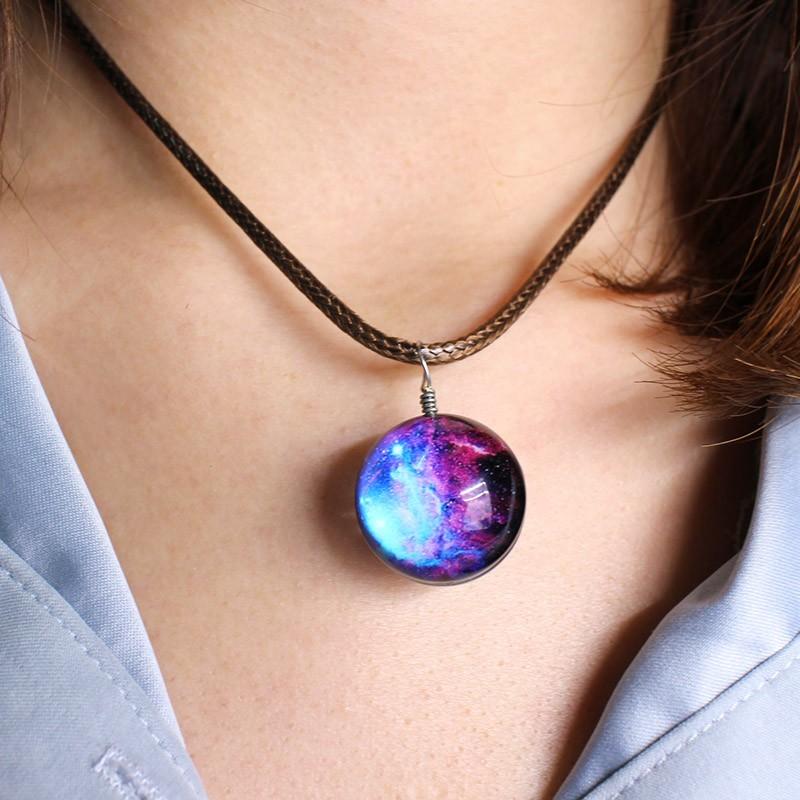 HTB1sSCYOFXXXXchXXXXq6xXFXXXu - New Stars Ball Glass Collares Duplex Planet Crystal Galaxy Pattern