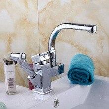 Дом Изящные Никель щеткой кухня MixerTap вытащить спрей с душем Поворотный кран JN92348