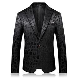 Жаккардовый Леопардовый блейзер с узором для мужчин, для выпускного вечера, вечерние, для клуба, приталенный Мужской Блейзер, пиджак для