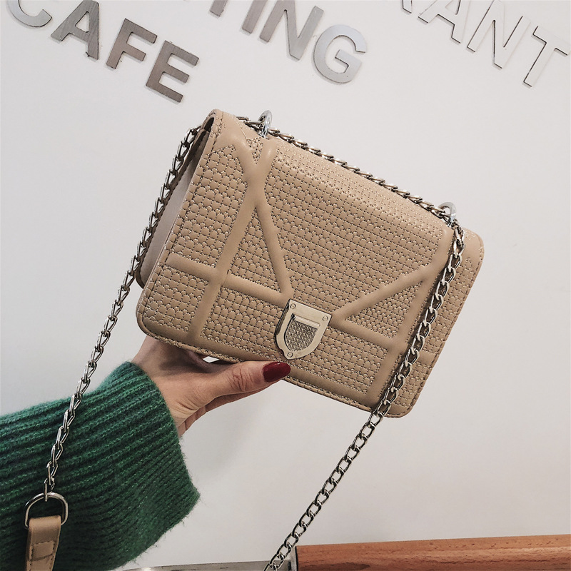 2018 new chain handbag thread PU pure color single shoulder