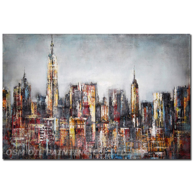 Top Skills Artist Hand-painted High Quality Modern Abstract Cityscape Oil Painting on Canvas Abstract City Building Oil Painting