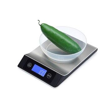 Báscula Digital de cocina impermeable para el hogar 5 10 15kg Balanza de peso para alimentos grandes báscula electrónica delgada de acero inoxidable