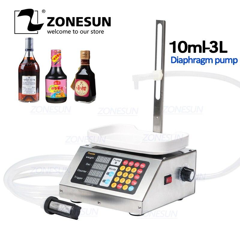 ZONESUN 10-3000ml Small Automatic CNC Liquid Filling Machine 110V-220V Perfume Weighing Filling Machine Milk Drink Filler
