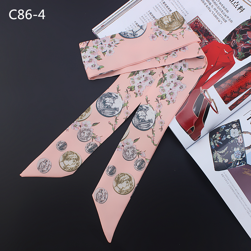 Long Skinny Scarf Women 2019 Small Ribbon Bag Scarfs Tie Female Silk Hair Band Scarves Floral Print Neckerchief in Women 39 s Scarves from Apparel Accessories