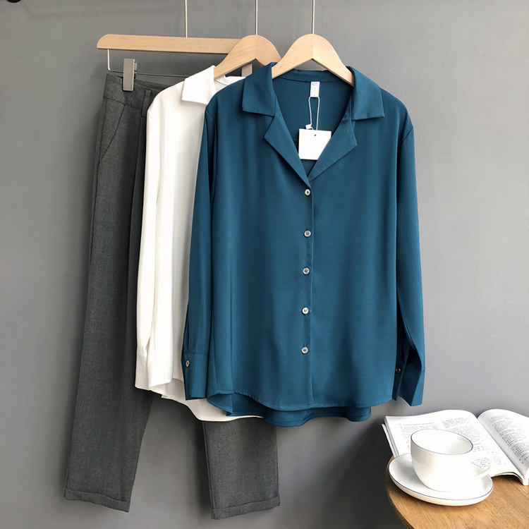 Autumn Korea Women   Blouse   Solid Soft Full Sleeve Turn-down Collar Cardigan Female Casual Office Wear White Blue Khaki   Shirt