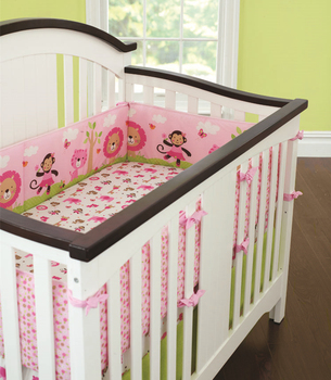5pcs Embroidery Pink Cotton Baby Bedding Set Quality kit berço Baby Bed Cot Linens Baby Cot Safe Bumpers (4bumper+bed cover)