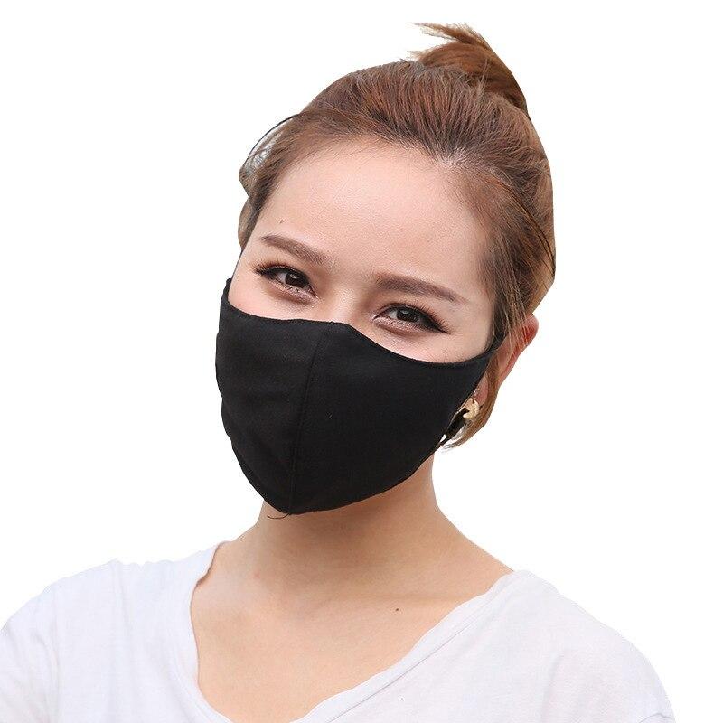 Fashion Men Women Cotton Solid Color Black Mask Autumn Winter Warm Couple Star Mask