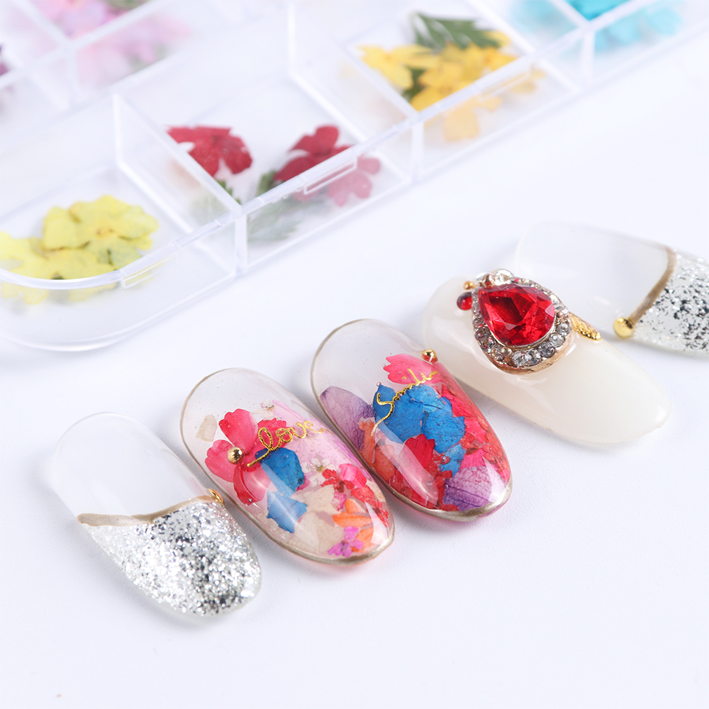 Mix Dried Flowers Nail Decorations Jewelry Natural Floral Leaf Stickers 3D Nail Art Designs Polish Manicure Accessories (11)