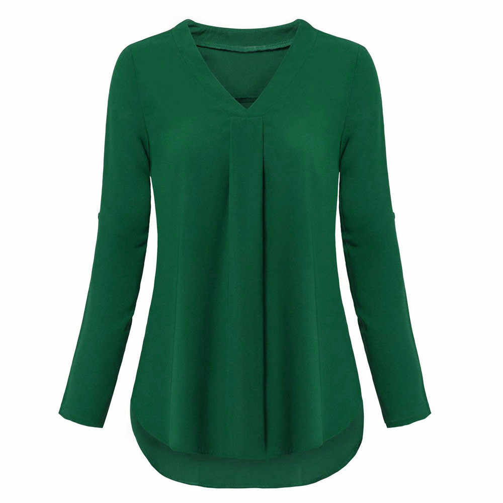 Năm 2018 Thời Trang Thu Đông nữ Cuộn Lên Cổ CHỮ V Polyester Áo nữ Dài Tay Áo thanh lịch Rời áo 1A07 *