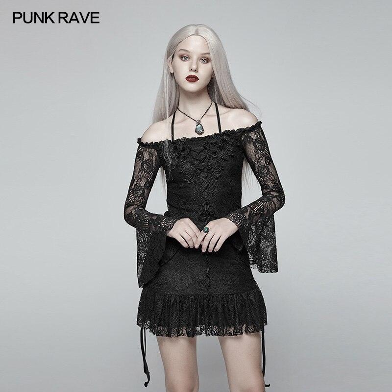 Club Off Belle Femmes Hauts Dentelle En Pour Sexy Femme Gothique Épaule Fête Lady Rave Style T Mode Punk shirt Coréen Lolita anwq7Upgp