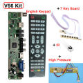 Support 7-55 inch Panel V56 Universal LCD TV Controller Driver Board PC/VGA/HDMI/USB Interface+7 key board+ 1 lamp inverter