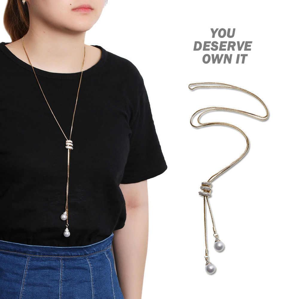 1 pièces mode Simple femmes mode collier bijoux pendentif collier Long gland chandail chaîne nouveau