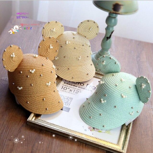 2017 детей Летом Ручной Жемчужные украшения Микки Уши из натуральной соломы Дети Beach Sun Hat cap