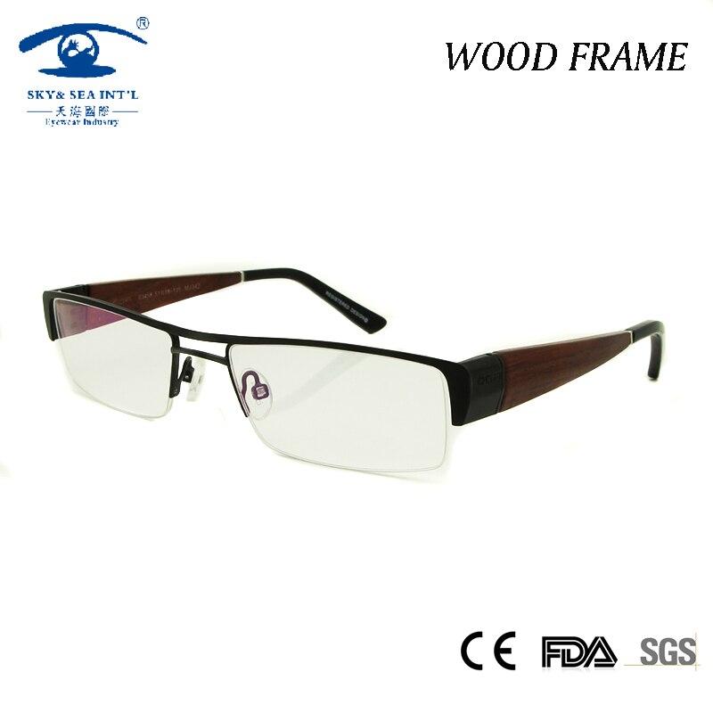 12ac2a223a1f2 Novos Homens Metade Aro Armações de Óculos de Madeira Armação de óculos  Limpar Lente De Vidro Óculos de Prescrição Oculos de grau Lerdo Do Vintage