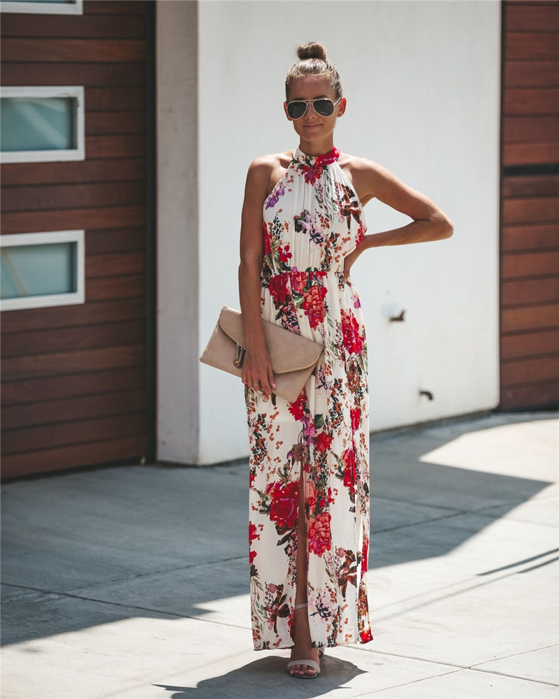 Halter Style Casual Loose Long Sleeveless Dress Female Summer