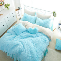 Blue White Color Fleece Winter Girls Bedding Set 3 4 7Pcs King Queen Twin Size Kids