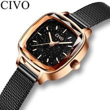 CIVO 패션 별이 빛나는 하늘 시계 여성 쿼츠 시계 숙녀 톱 브랜드 손목 시계 여성 방수 시계 Relogio Feminino 8102